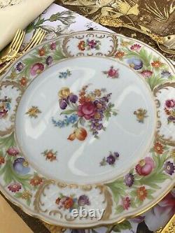 10 German Porcelain Hand-painted Dinner Plates with Floral Decor Oscar de la Renta