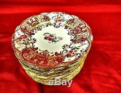 11 D & C L. Bernardaud & Co Limoges Hand Painted Floral Dessert Plates Mint