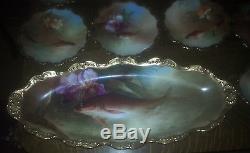 11 PIECE HAND PAINTED LIMOGES PORCELAIN FISH SET signed DE NERVAL Book piece