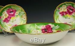 11 Pieces Limoges Hand Painted Floral Green Gold Ice Cream Dessert Set