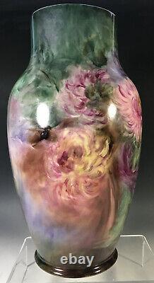 12.5 Large HAND PAINTED CHRYSANTHEMUMS Vase