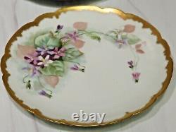 12 Antique Haviland Limoges Hand Painted Purple Violets Gold Plates 8.5 c1900