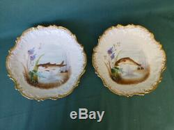 12 Antique Limoges France Hand Painted Fish Plates