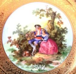 12 LIMOGES 11PORTRAIT CHARGERS, Hand Painted Scenes, Ruby Red with 22K Gold. Vtg