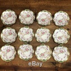 12 Limoges Coronet Hand Painted Antique Heavy Gold Ornate Rose 7.5 Plates Lot