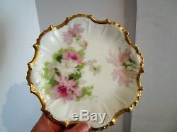 12 Piece Handpainted CORONET Limoges Ice Cream Dessert Set-Pink & White Flowers