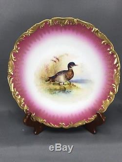 (12pc) Hand Painted Tressemannes & Vogt T&V Limoges Pink & Heavy Gold Game Set