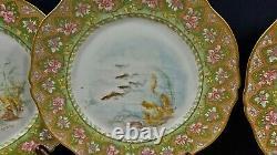 13 Pc Haviland Limoges Hand Painted Signed Fish Serving Set Platter w 10 Plates