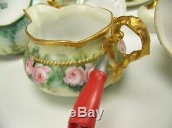 13 Pieces Limoges Handpainted Roses Creamer Sugar Chocolate Tea Set Cups Saucers
