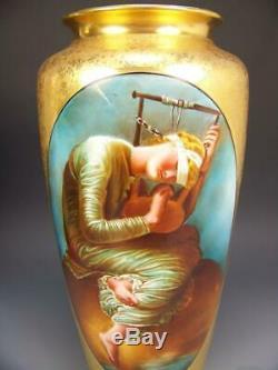 14.25 Vase Osborne Studio Limoges Hand Painted Hope After George F. Watts
