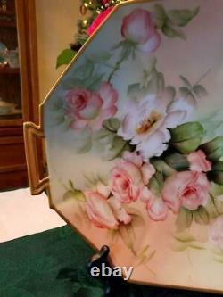 14 Limoges Hand Painted Rose Charger, Artist Signed, Ester Miler