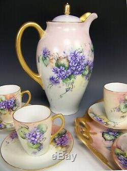17 Pcs Antique Bavaria Hand Painted Violets Chocolate Set Tray Artist Eastman