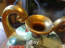 1890s J. P. L. LIMOGES Large Urn Vase Handpainted Orange Poppies Gold Handles-Mint