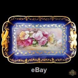 18.5/47cm Limoges France cobalt blue porcelain hand-painted rose tray/plat 1888