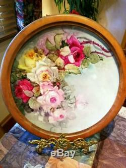 18 Magnificent Limoges Hand Painted Rose Charger Plaque, Artist Signed