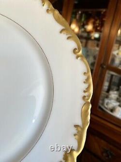 1900's, T&V Limoges Hand Painted 9.5 Dinner Plates White & Gold