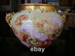 1901 Limoges J. P. L. Hand Painted Jardiniere, Vase, Planter, Floral, Large 12
