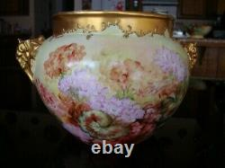 1901 Limoges J. P. L. Hand Painted Jardiniere Vase Planter Floral Large 12in