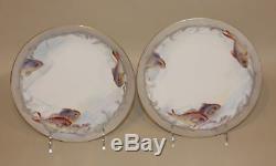 1907 PL D&C Limoges France Handpainted Fish Set Oval Platter & 12 Matched Plates