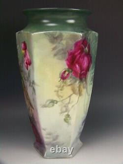 1917 Limoges Hand Painted Roses Hexagon 11.5 Vase