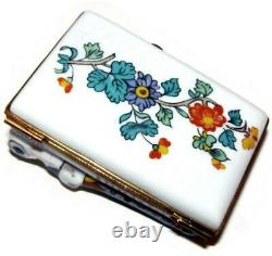 1970s Limoges Hand Painted Hinged Porcelain Large Trinket Box Couple in Bed