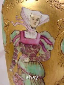 19th Jean POUYAT Hand Painted French Limoges Beaded Portrait Vase Maiden Gilded