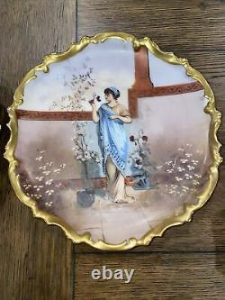 2 LIMOGES PLATES HAND PAINTED GOLD ANTIQUE PORCELAIN FRANCE LRL GIRL With FLOWERS