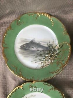 4 Antique Haviland France Hand Painted Porcelain Fish Plates Artist Signed SMB