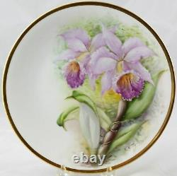 6 Antique Raynaud & Co. Limoges Hand Painted Orchid Plates 8-1/2 Artist Signed