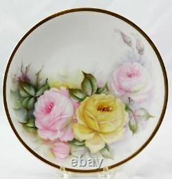 6 Antique Raynaud & Co. Limoges Hand Painted Rose Cabinet Plates 8-1/2 France