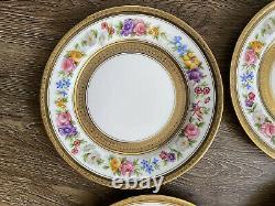 6 C Ahrenfeldt Floral Dessert Plates Ovington Bros Limoges Hand Painted Gilt #1