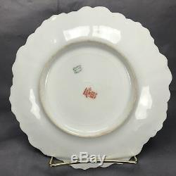 (6) Laviolette Bawo & Dotter Elite Limoges Hand Painted Flowers & Gold 8 Plates