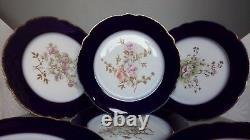 6 X J C Limoges France Cobalt Blue & Gold Trim Hand Painted 9 Floral Plates