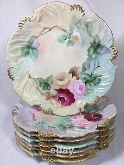 (7) T & V Limoges 8.25 Inch SCALLOPED HANDPAINTED PLATES with Roses c1905/1907