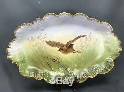 (7pc) Hand Painted LBH Limoges France Autumn Game Birds & Gold Plates with Platter