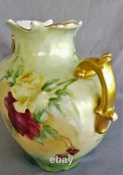 8.25 Jean Pouyat French JP Limoges Vase Rose's Signed Elsie Hand Painted France