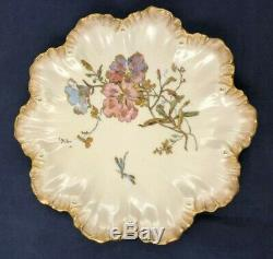 8 Antique Limoges A. Lanternier Plates Hand Painted Flowers and Encrusted Gold