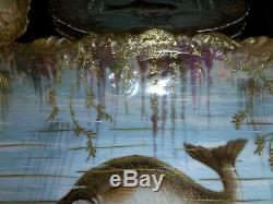 8 Limoges Fish Plates & 1 Platter Gold Encrusted LS&S VF Hand Painted Amazing