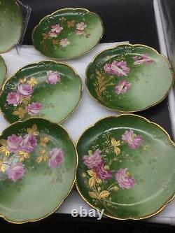 8 Vintage Hand Painted AK France Limoges Flowers Lot Set Cabinet Plates