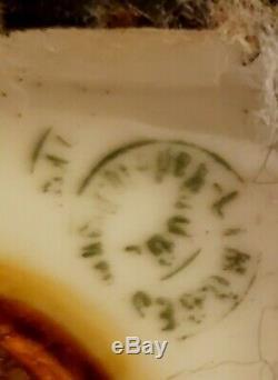 9 Limoges Porcelain Urn Lamp Vase Hand Painted Pink Roses Swan Handles Gold Tri