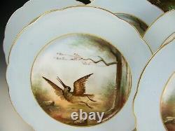 9 Pieces Old Paris Pink Handpainted Hunting Dod Games Plates + Platter Set