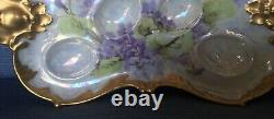 AK Limoges France Deviled Egg Serving Tray Handpainted Early 1900s Heavy Gold