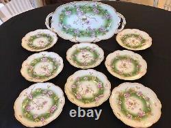 AK Limoges France Handpainted & Gilt Dessert Set (9 Pc) c. 1900-10
