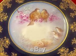 ANTIQUE LIMOGES HAND PAINTED COBALT BLUE PLATE BIRDS w GILDED RIM SIGNED