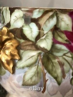 ANTIQUE Limoges Jardiniere Vase Handpainted ROSE JPL Jean Pouyat ELEPHANT HANDLE
