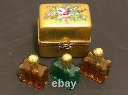 ASPREY HAND PAINTED GOLD GILT PEINT MAIN LIMOGES CHEST With 3 TINY PERFUME BOTTLES