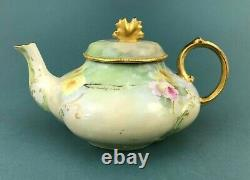 ATQ A. K. France Limoges Hand Painted Roses Teapot Heavy Gold Trim Artist Signed
