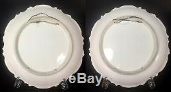 A. Bronssillon signed, Pair of hand-painted roses Limoges France porcelain cha