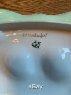 A K France limoges Artist Signed Hand Painted Egg Tray