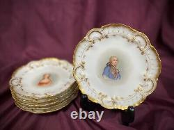 A Lanternier Limoges Hand Painted Portrait Plates Set/6 French Royalty Signed